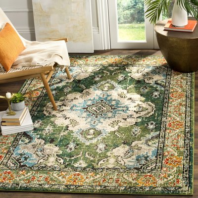 Rectangle Indira Green Area Rug