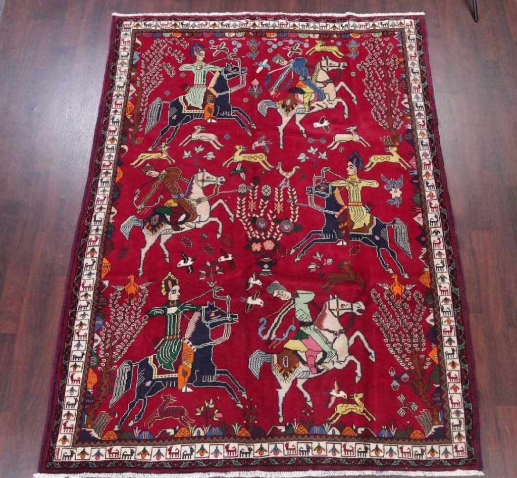 Persian One of a Kind Hunter Themed Area Rug