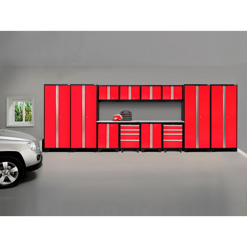 Bold Red 14 Piece Garage Storage Cabinet System by Pro Series 3.0