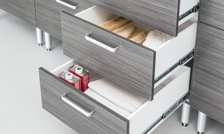 Grey Wood Look Garage Cabinet Drawers neatly Organized