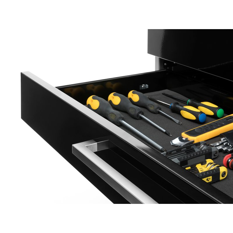 Garage cabinet system with organized tools in a drawer