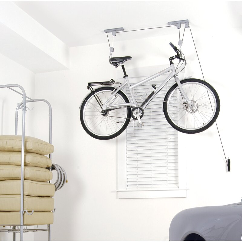Ceiling Pulley and Hoist Bicycle Storage Rack