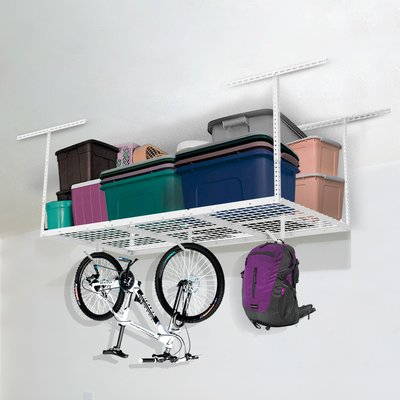 White adjustable heavy duty overhead storage rack with added hooks for bikes and bags