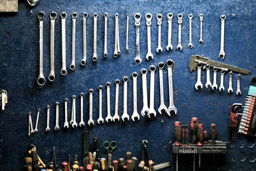 Organized Tools On Wall in Garage