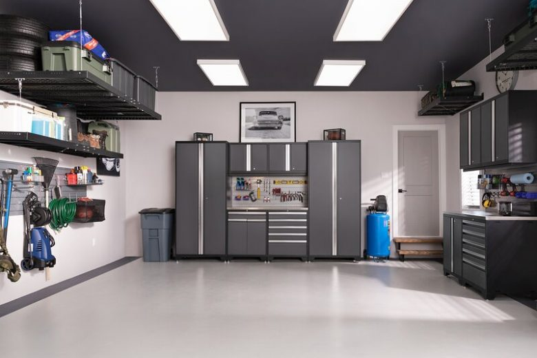 Organized Garage with Storage Cabinets