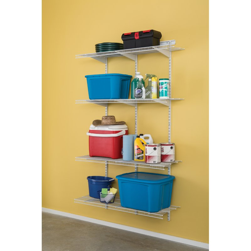 Track, bracket and wire shelf flexible configuration shelving unit