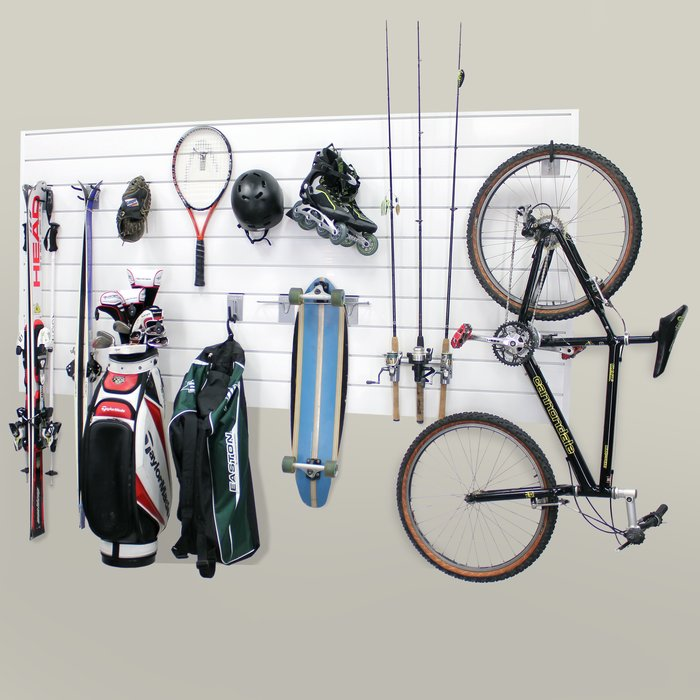 Slat Wall Storage System Installed storing sports gear