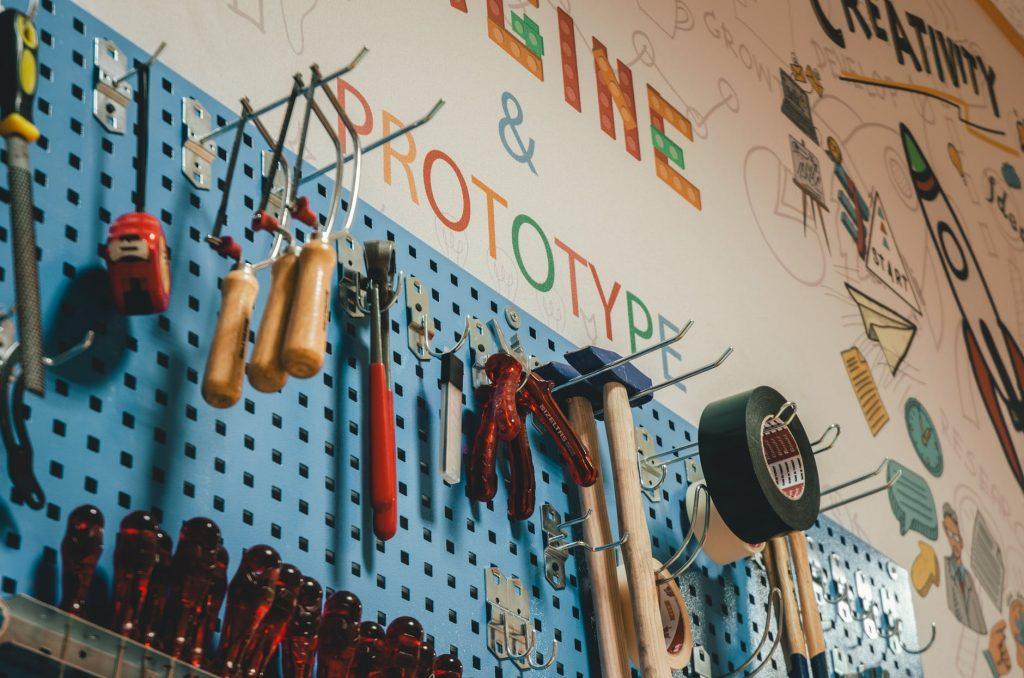 Tools Stored on Peg Board
