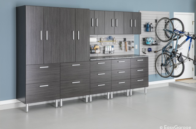 Custom Grey Garage Storage and Workspace Cabinet System
