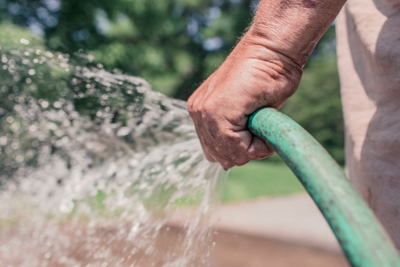 Man Using Garden Hose to Water Lawn