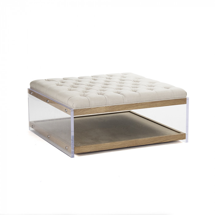 Acrylic Upholstered Square Ottoman with Open Storage by Belle and June