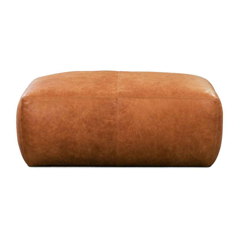 Ashley Large Leather Pouf