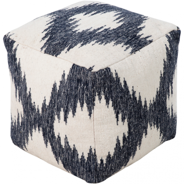 Blue and white patterned square pouf.