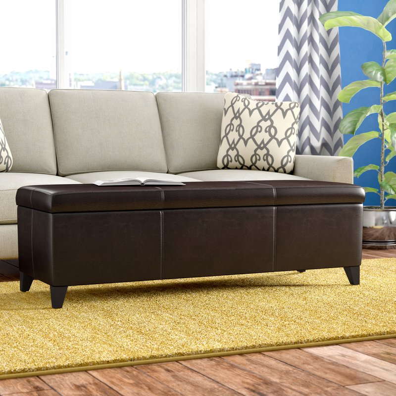 Denali Brown Faux Leather Storage Ottoman