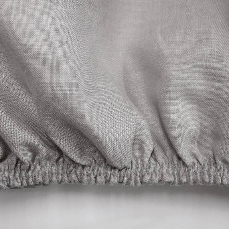 Grey Linen Fitted Sheet Showing Texture