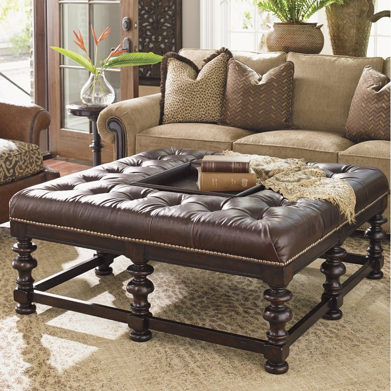 Tommy Bahama Heather Tufted Cocktail Ottoman with Tray