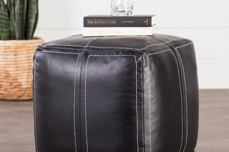 Ultra By Nikki Chu Black Leather Pouf