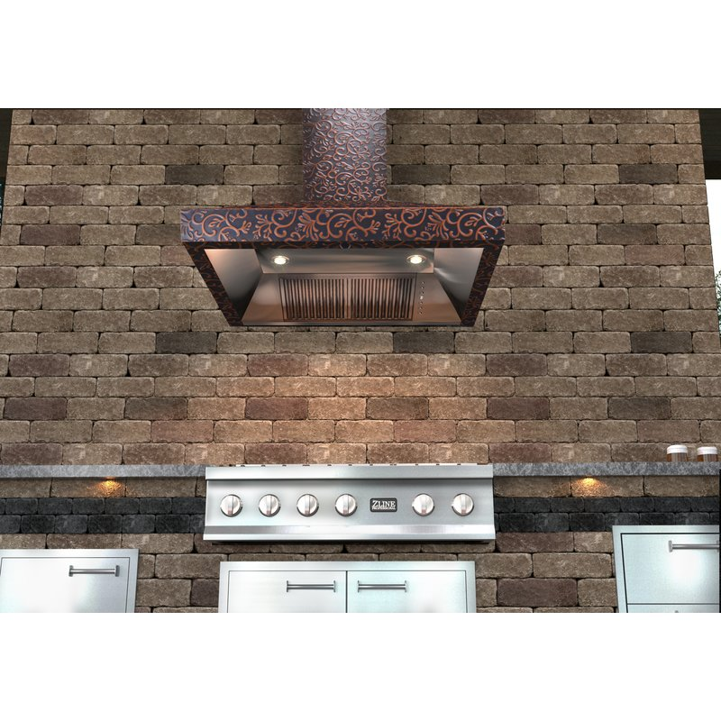 ZLINE Embossed Copper 900 CFM Wall Mount Range Hood installed Outdoors