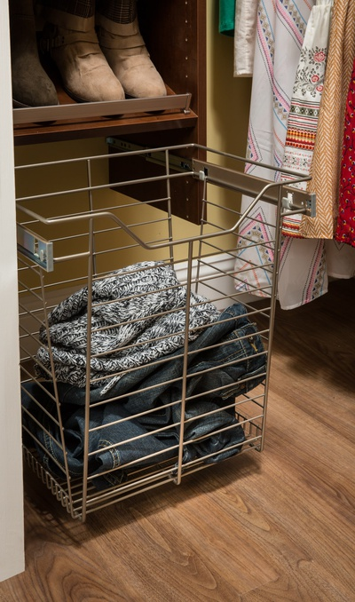 Custom Pull Out Wire Laundry Basket in Closet