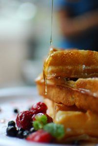 Maple Syrup Drizzled on Waffles