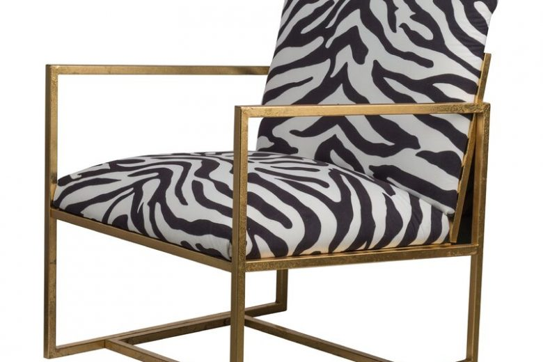 Cardenas Zebra Print Armchair with Gold Tone Arms