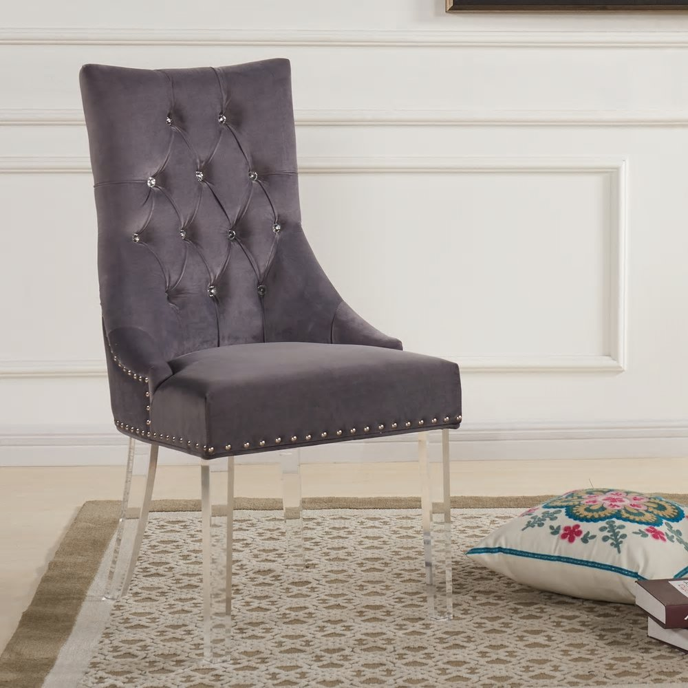 Armen Living Gobi Tufted Dining Chair in Velvet with Acrylic Legs