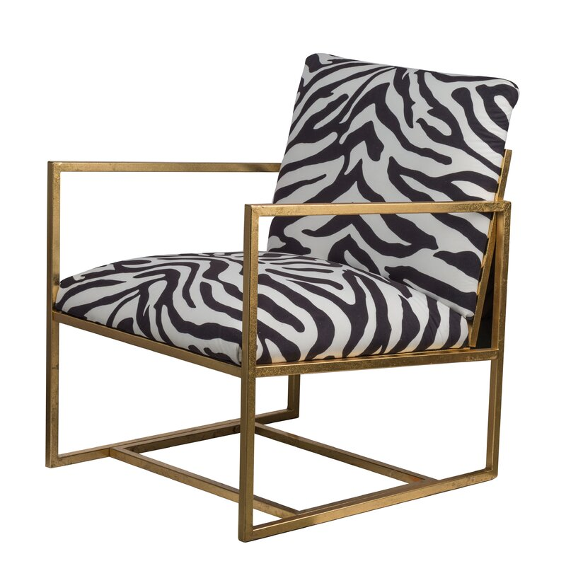 Modern Zebra Print Upholstered Side Chair with Gold Metal Frame