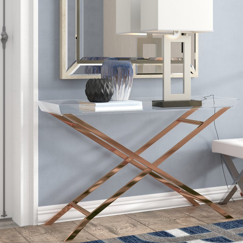 Casey Acrylic Tray Top Console Table with Metal Frame Legs