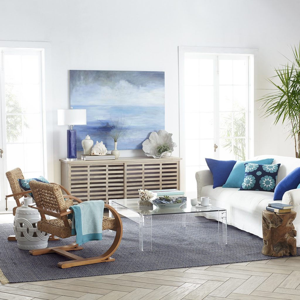Clear Acrylic Square Coffee Table in Coastal Themed Room