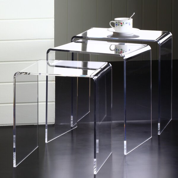Fox Hill Trading Acrylic Pure Decor 3 Piece Nesting Tables