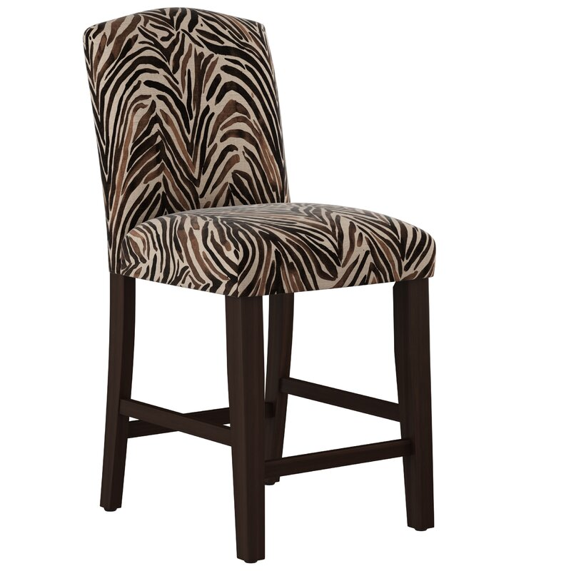 Genevie Arched Washed Zebra Bar Counter Stool