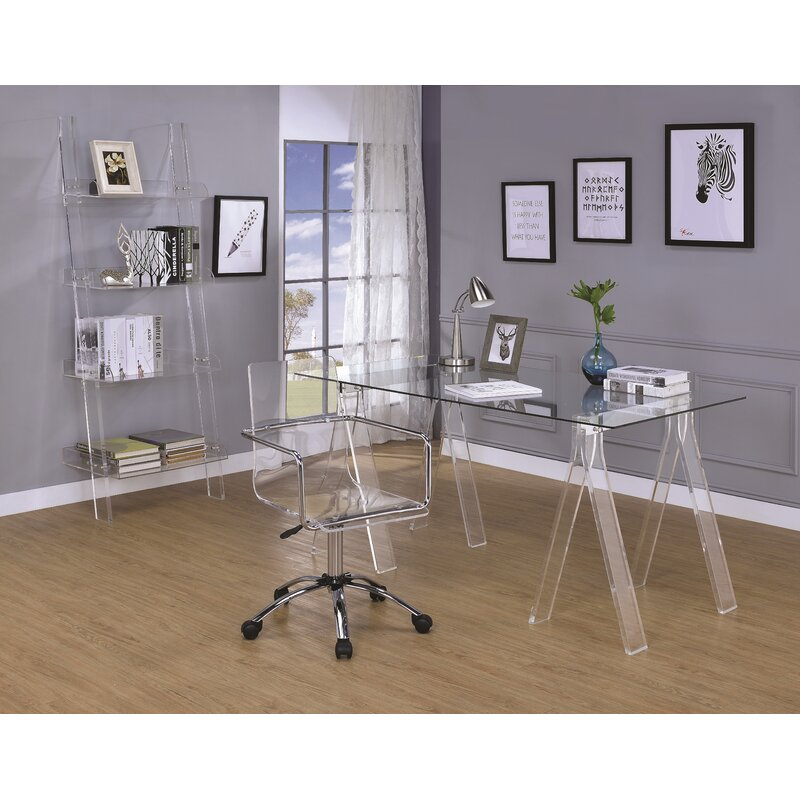 Home Office with Clear Acrylic Desk Chair and Bookshelf
