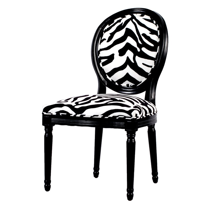 Black and White Zebra Print Armless Dining Chair
