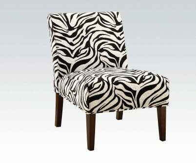 Upholstered slipper accent chair in zebra print
