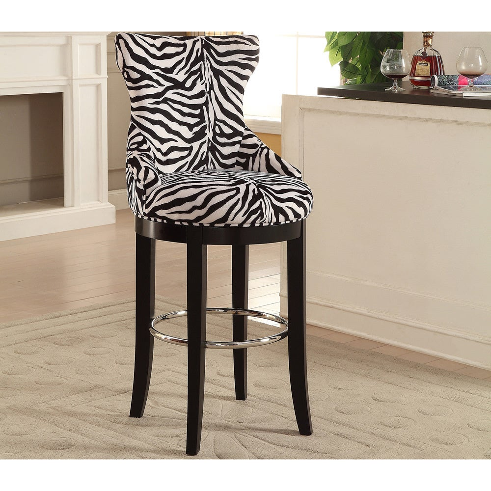 Traditional Zebra Print Fabric 30 Inch Tall Bar Stool by Baxton-Studio