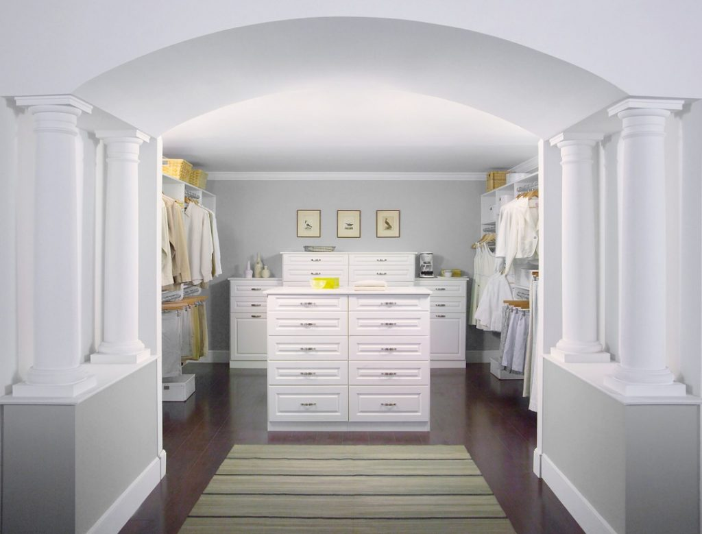 White Walk In Custom Closet