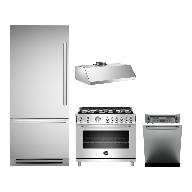 Bertazzoni 4 Piece Stainless Steel Kitchen Appliance Package with Gas Range
