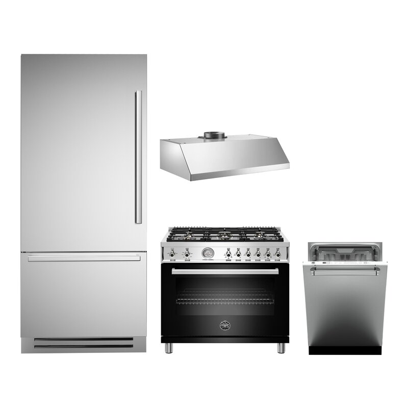 Bertazzoni 4 Piece Stainless Steel Kitchen Appliance Package