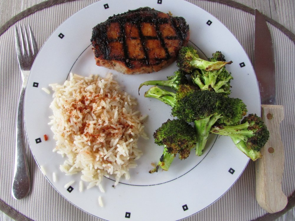 Grilled Broccoli Rice and BBQ Pork Chop Dinner
