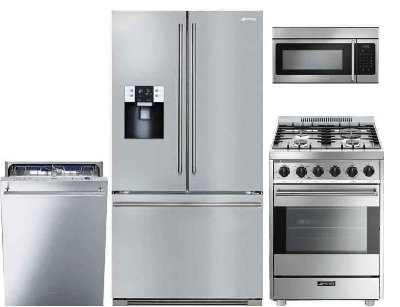 Smeg 4 Piece Appliance Package with 24 Inch Gas Range
