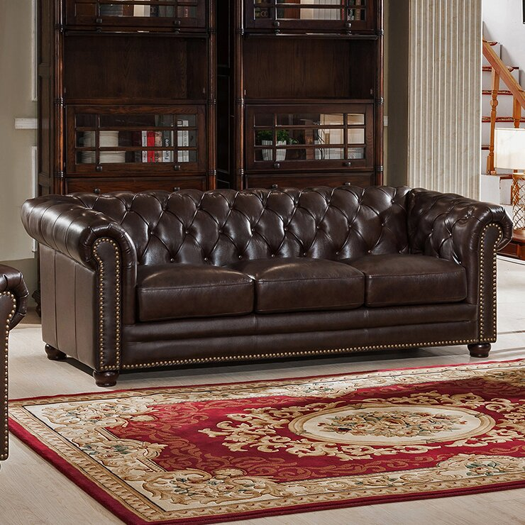 17 Stories Brittany Dark Brown Leather Chesterfield Sofa