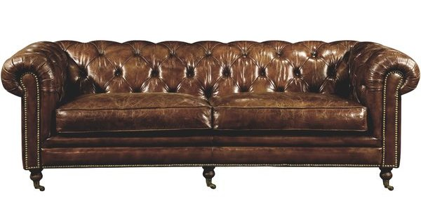 Classic Brown Leather Chesterfield Sofa