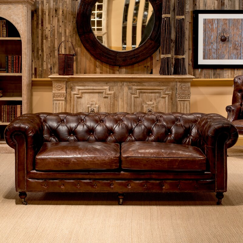 Sarreid Ltd Castered Rich Brown Leather Chesterfield Sofa