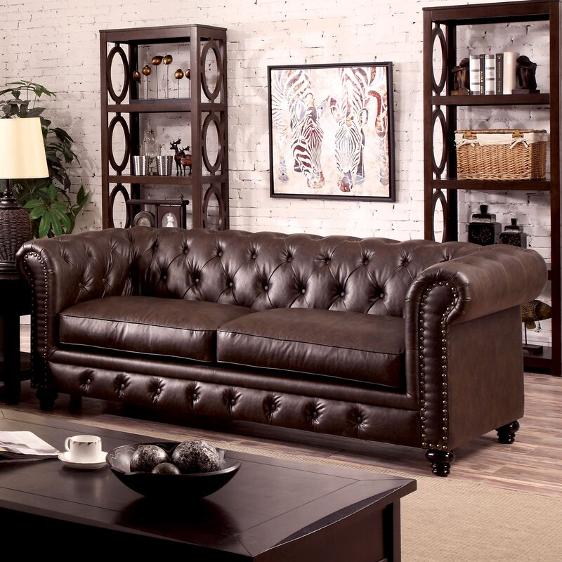 Three Posts Emmalyn Faux Leather Rolled Arm Chesterfield Sofa