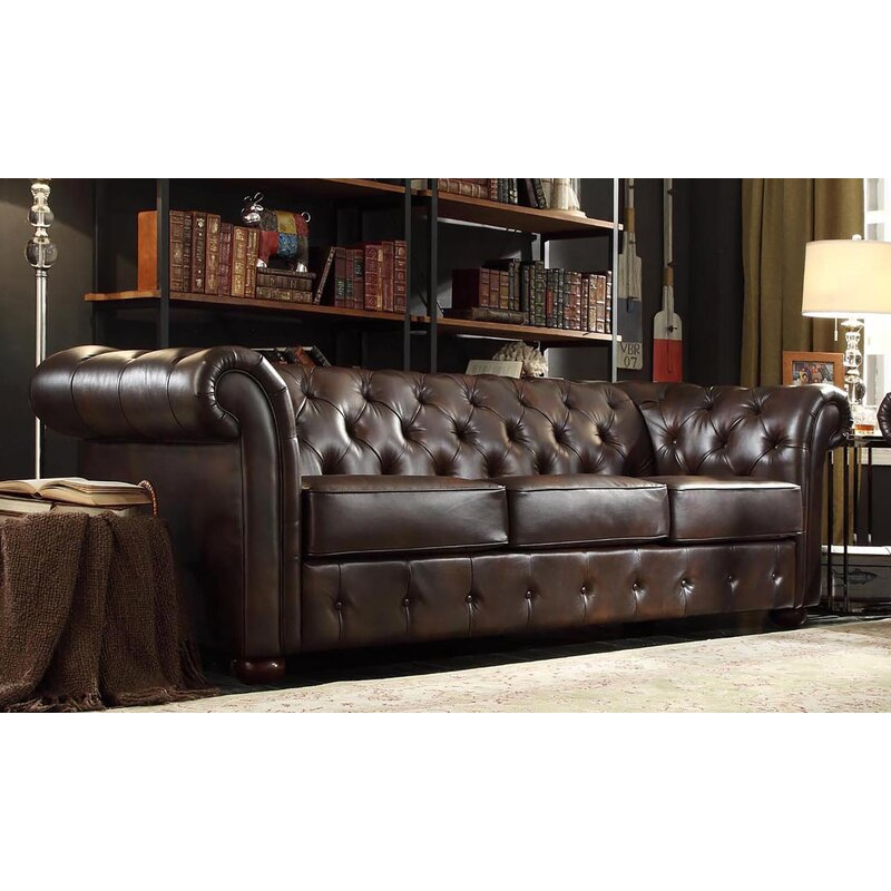 Three Posts Dark Brown Leather Lucious Chesterfield