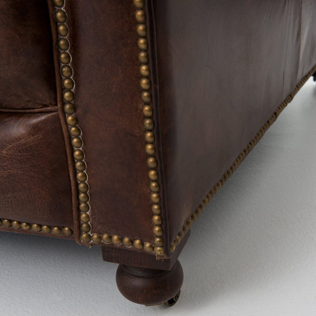 Chesterfield turned legs and wheeled castors