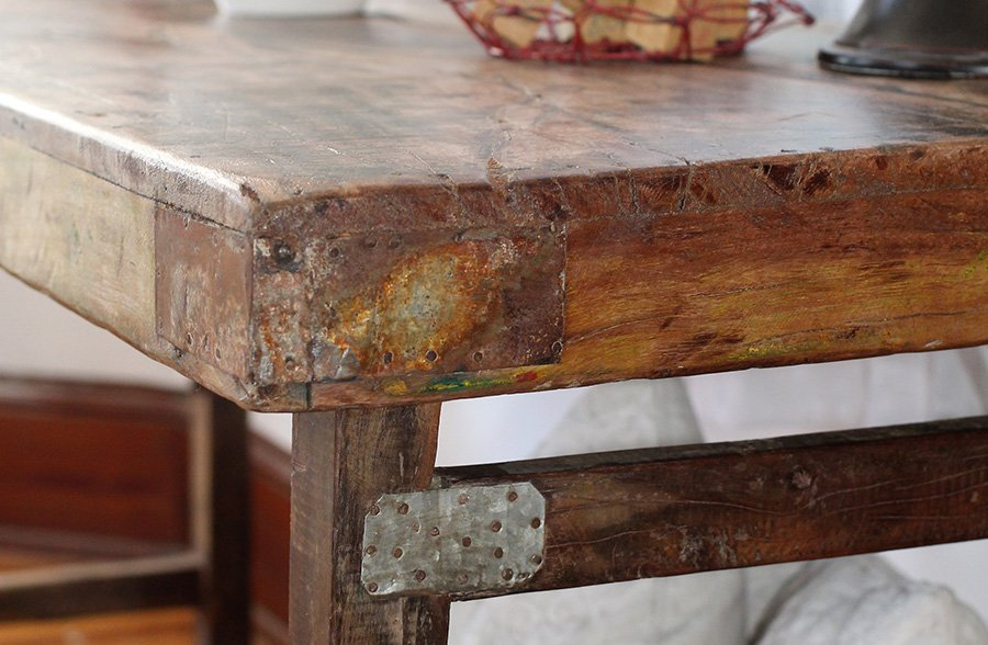 Found Rustic Wooden Folding Table Desk Close Up Hardware