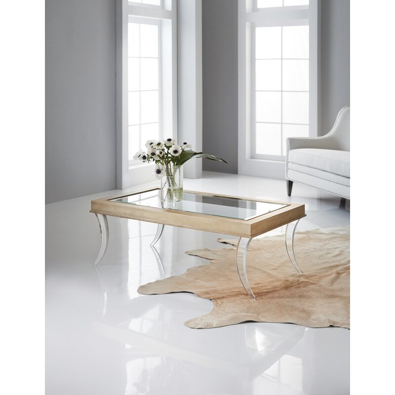Hooker Furniture Glass and Wood Coffee Table with Clear Acrylic Legs