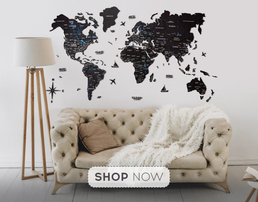 3-D Black Wooden World Map in Monochromatic Living Room