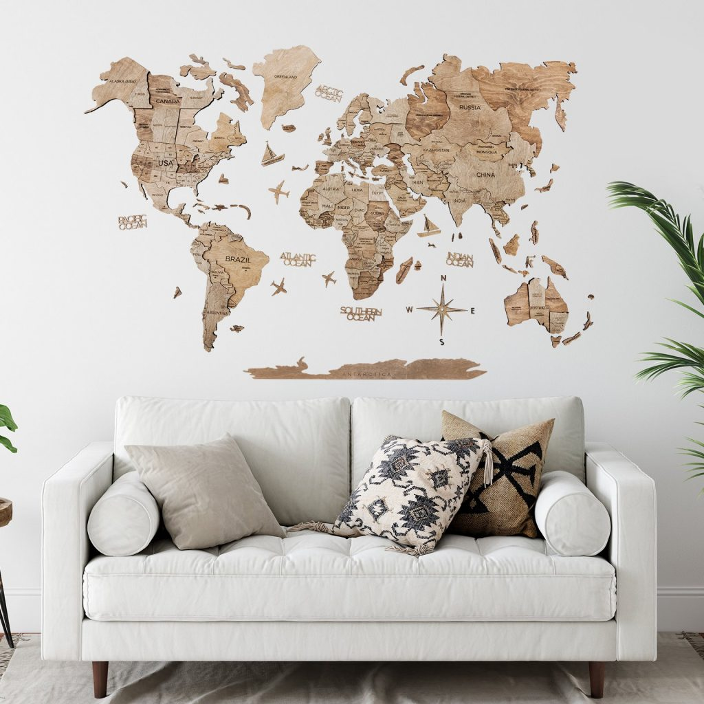 3-D Wood World Map Wall Art in Natural Finish